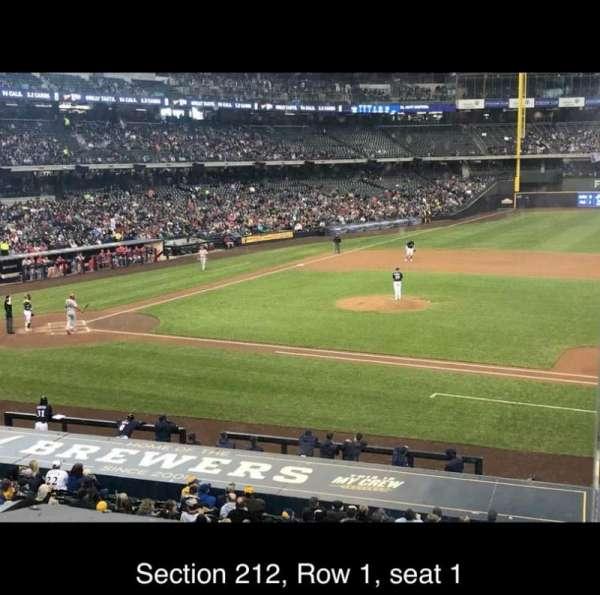 American Family Field, secção: 212, fila: 1, lugar: 1