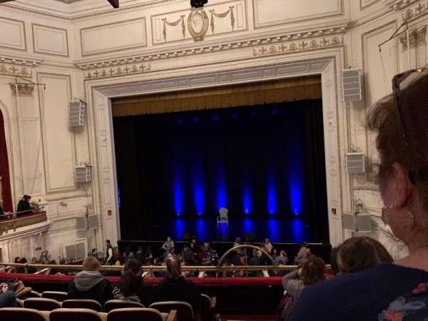 Wilbur Theatre, secção: MEZZ, fila: G, lugar: 2