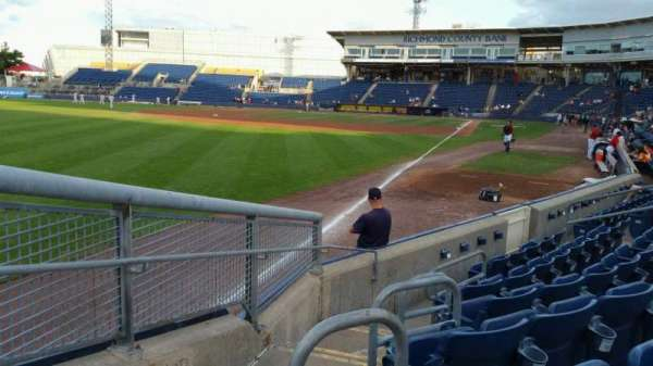 Richmond County Bank Ballpark, secção: 1, fila: F, lugar: 19