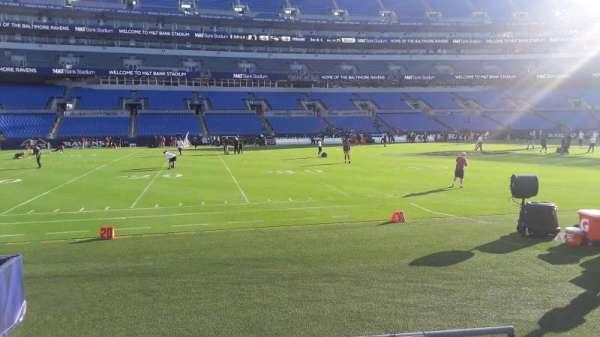 M&T Bank Stadium, secção: 102, fila: 4, lugar: 1