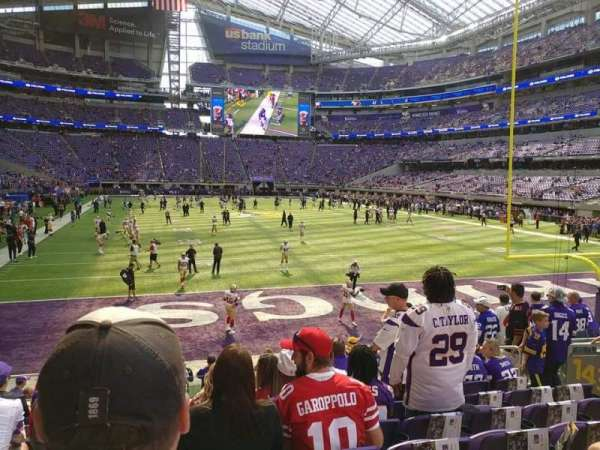 U.S. Bank Stadium, secção: 143, fila: 10, lugar: 10