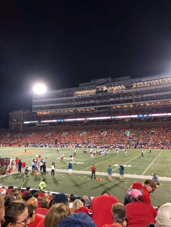 Memorial Stadium (Champaign), secção: 102, fila: 19, lugar: 7