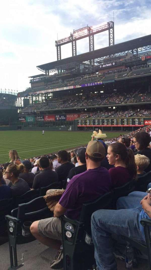 Coors Field, secção: 121, fila: 26, lugar: 1