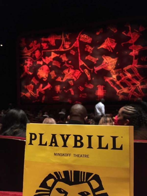 Minskoff Theatre, secção: Orchestra C, fila: Q, lugar: 125