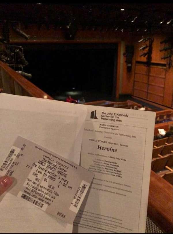 The Kennedy Center Family Theater, secção: GAL, fila: GL, lugar: 4