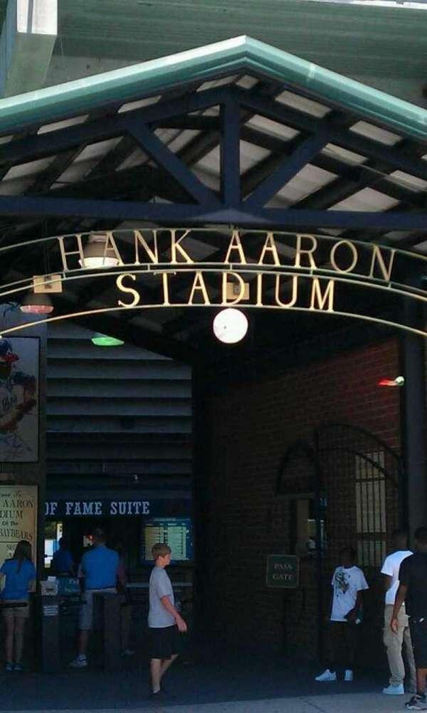 Hank Aaron Stadium, secção: 110, fila: 15, lugar: 3