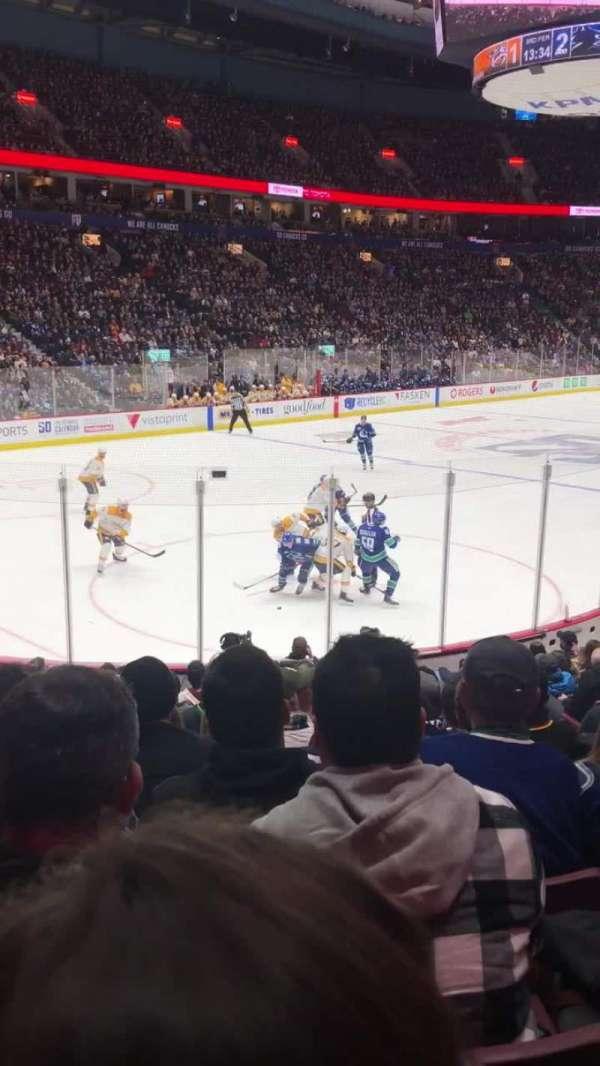 Rogers Arena, secção: 109, fila: 14, lugar: 105