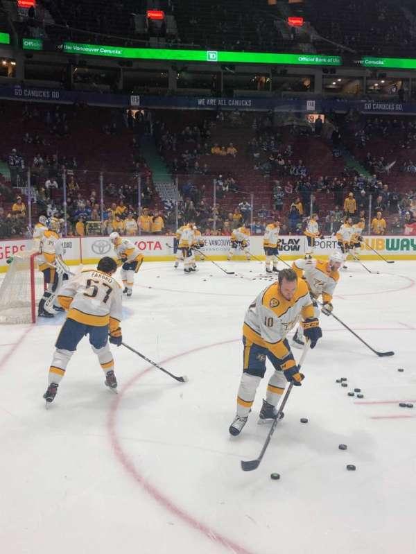 Rogers Arena, secção: 109, fila: 2, lugar: 2