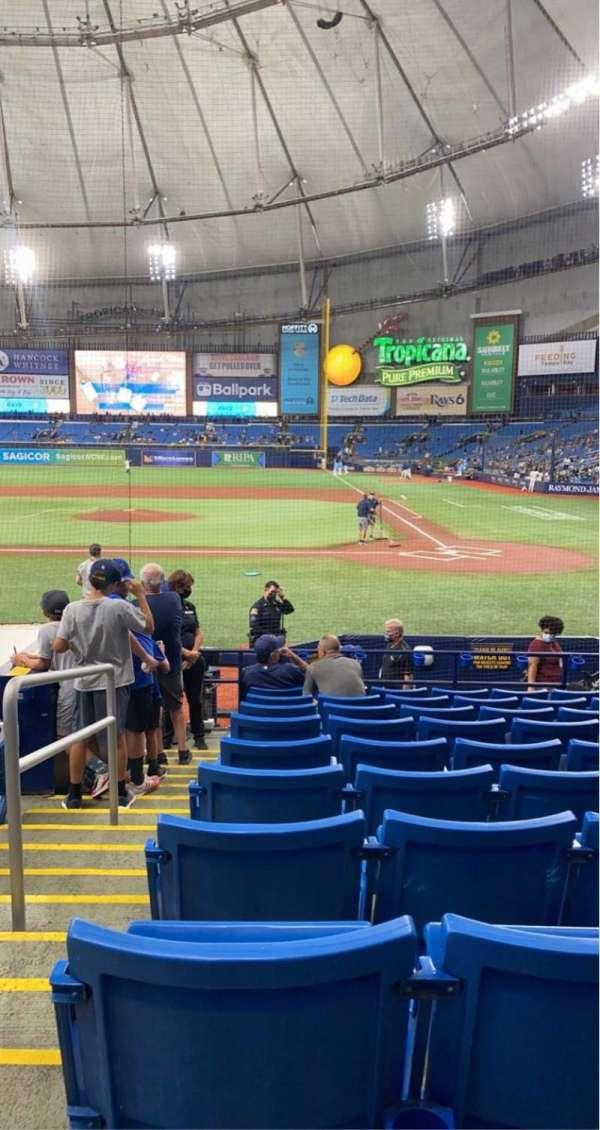Tropicana Field, secção: 109, fila: S, lugar: 1