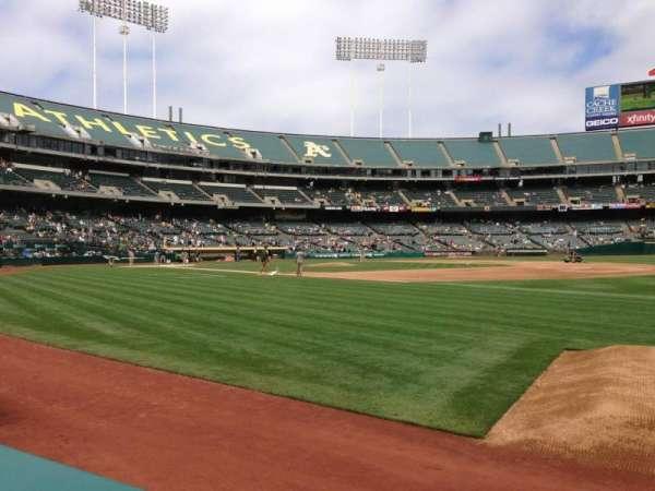 Oakland Coliseum, secção: 108, fila: 1, lugar: 5
