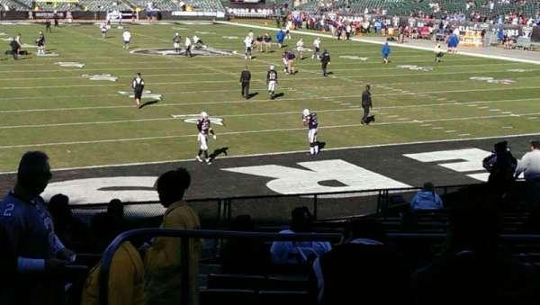 Oakland Coliseum, secção: 108, fila: 26, lugar: 17