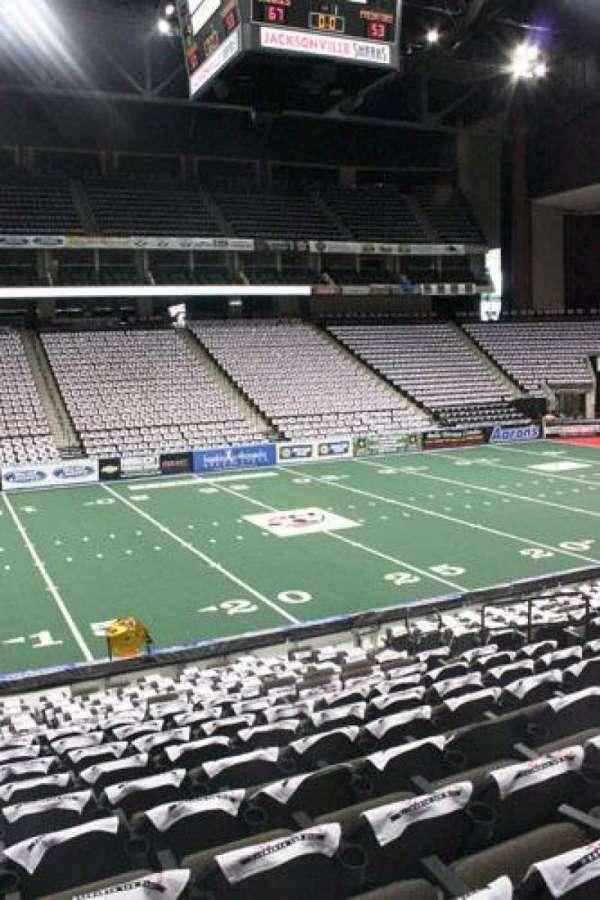 VyStar Veterans Memorial Arena, secção: 104, fila: P, lugar: 8