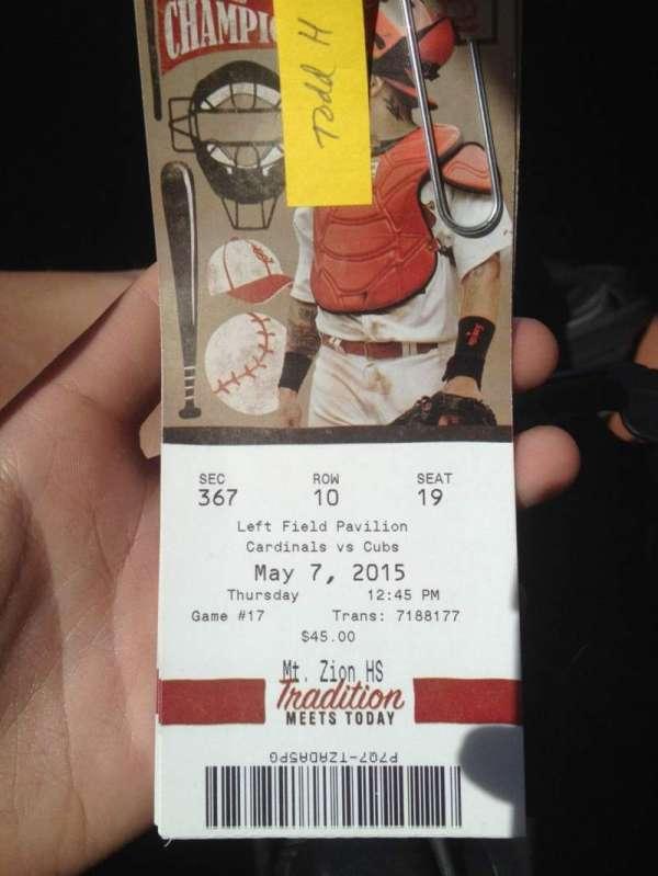 Busch Stadium, secção: 367, fila: 10, lugar: 19