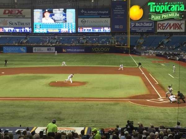Tropicana Field, secção: 109, fila: JJ, lugar: 1