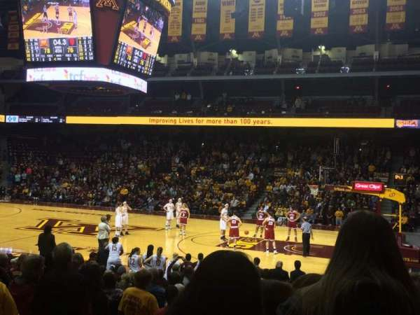 Williams Arena, secção: 104, fila: 17, lugar: 11