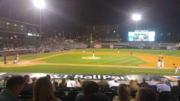 BB&T Ballpark (Charlotte), secção: 107, fila: Q, lugar: 9