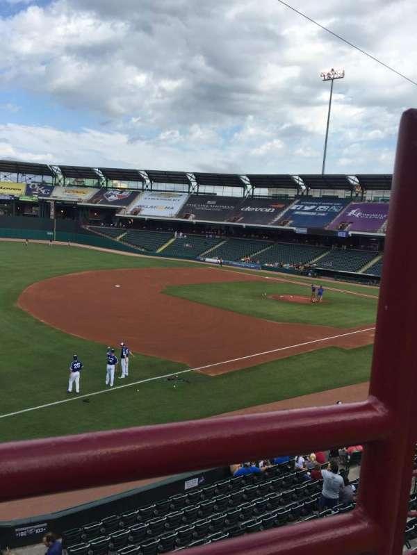 Chickasaw Bricktown Ballpark, secção: 200, fila: 1, lugar: 2