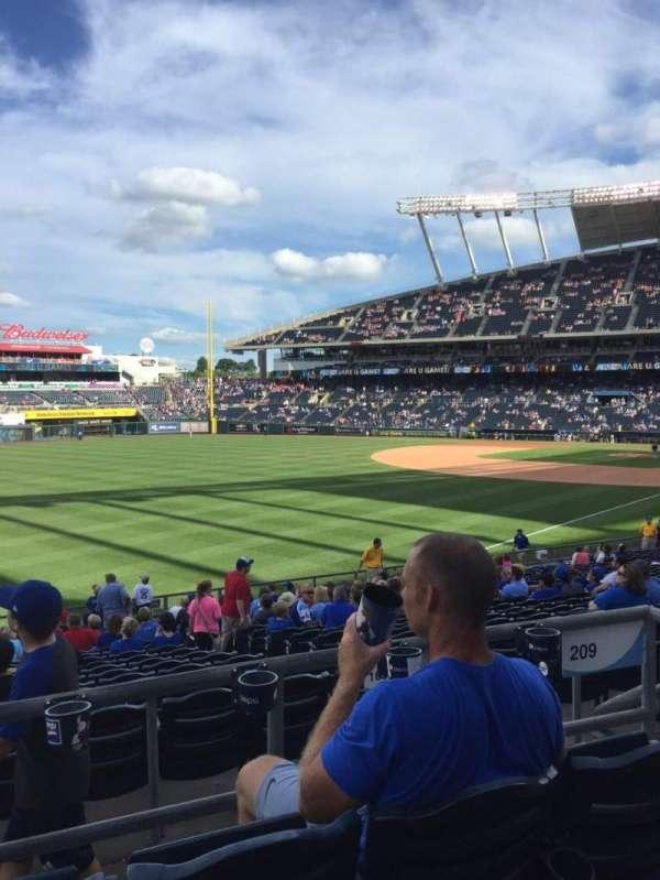Kauffman Stadium, secção: 209, fila: CC, lugar: 8