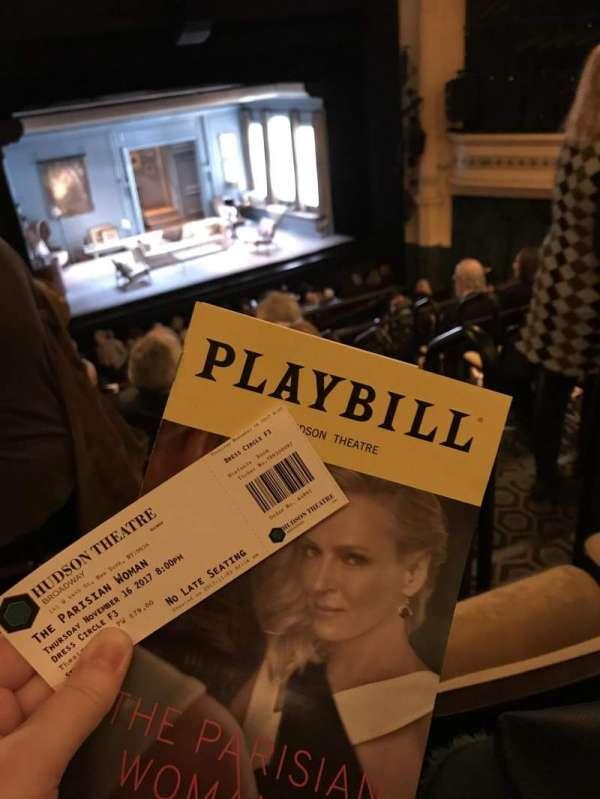 Hudson Theatre, secção: Dress Circle L, fila: F, lugar: 3