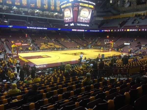 Williams Arena, secção: 108, fila: 21, lugar: 13