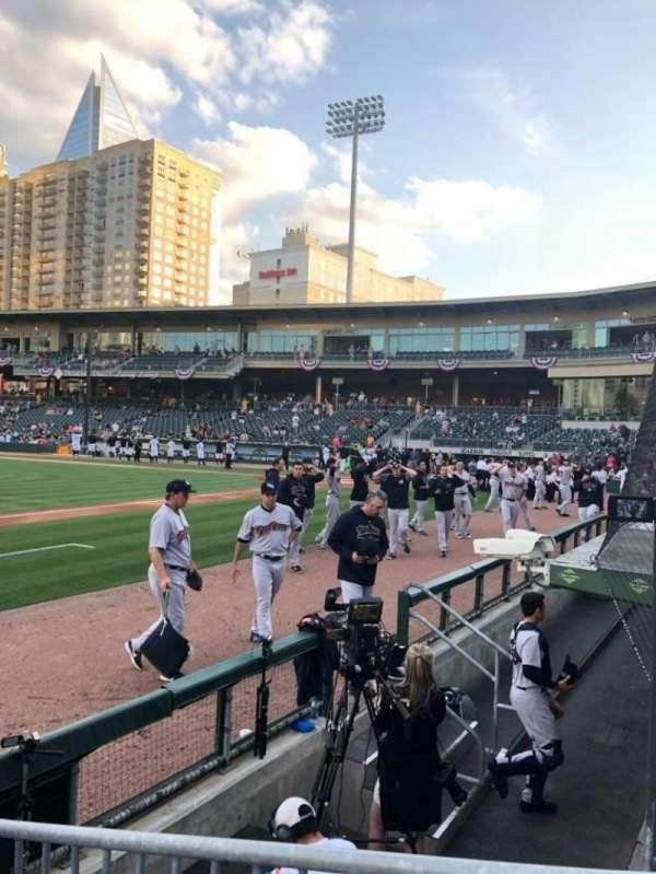 BB&T Ballpark (Charlotte), secção: 117, fila: B, lugar: 1