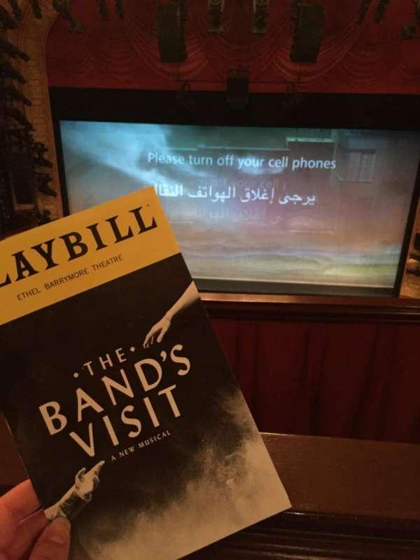 Ethel Barrymore Theatre, secção: REAR MEZZ, fila: A, lugar: 108