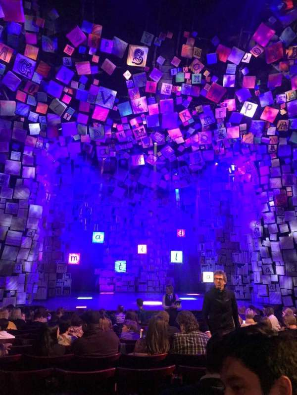 Cambridge theatre, secção: Stalls, fila: N, lugar: 20