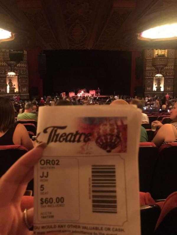 The Fabulous Fox Theatre (St. Louis), secção: Orchestra 2, fila: JJ, lugar: 5