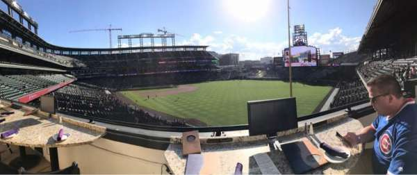 Coors Field, secção: Mountain Ranch Club, fila: 1, lugar: 1