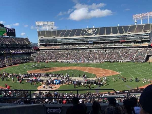Oakland Coliseum, secção: 215, fila: 5, lugar: 20