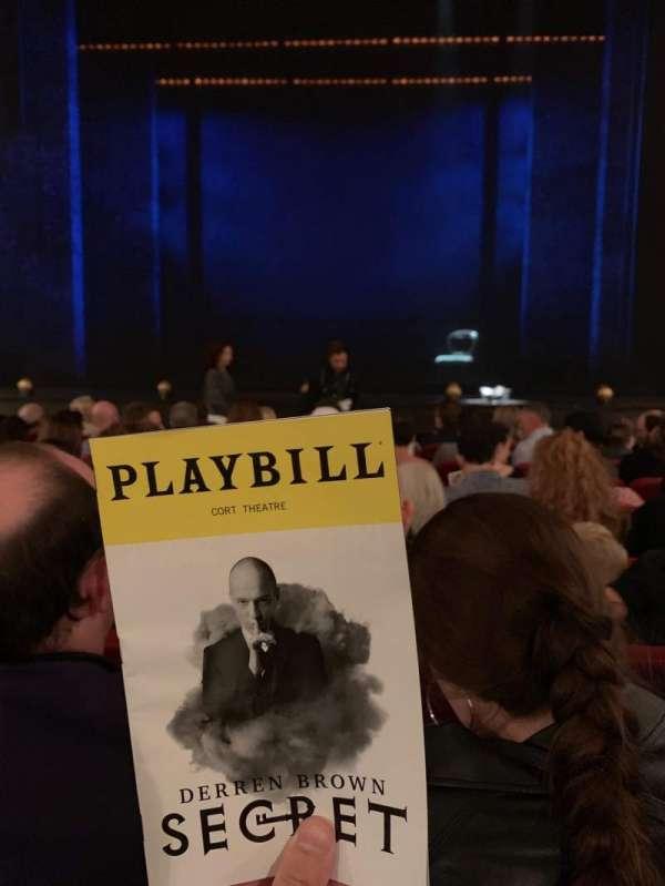 Cort Theatre, secção: Orchestra C, fila: G, lugar: 108