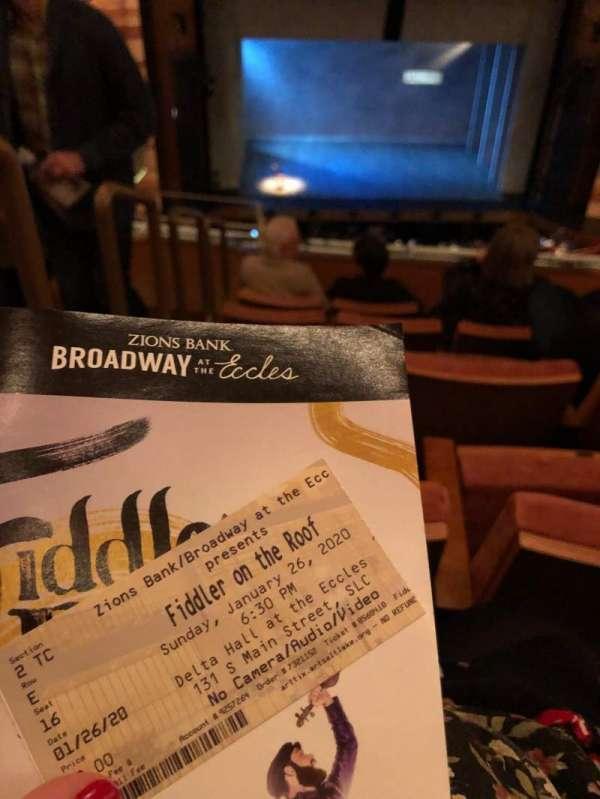 Eccles Theater, secção: 2TC, fila: E, lugar: 16