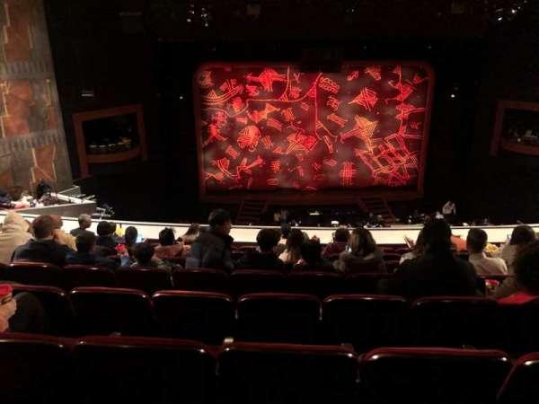 Minskoff Theatre, secção: Mezzanine, fila: H, lugar: 120