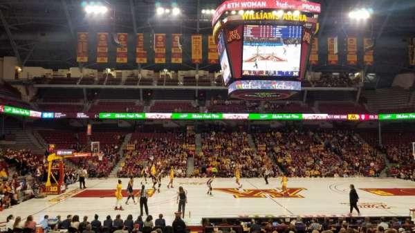 Williams Arena, secção: 107, fila: 18, lugar: 2