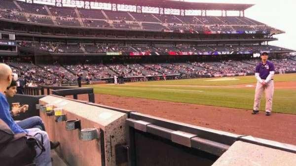 Coors Field, secção: 120, fila: 1, lugar: 13