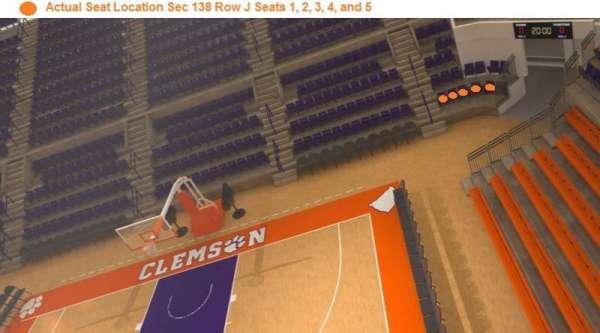 Littlejohn Coliseum, secção: 138, fila: J, lugar: 1,2,3,4,5