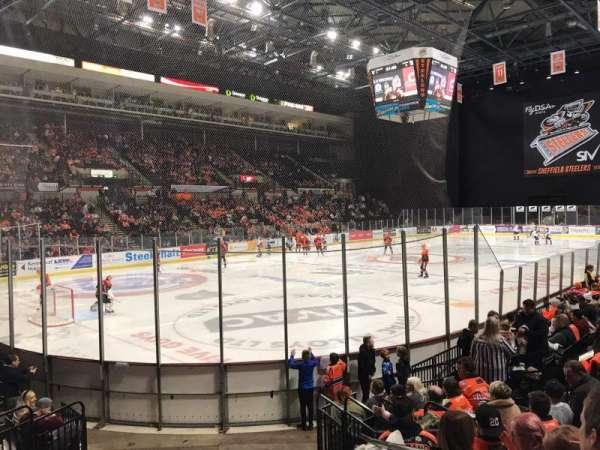 Sheffield Arena, secção: 114, fila: K, lugar: 1