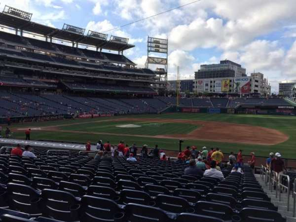 Nationals Park, secção: 130, fila: AA, lugar: 1