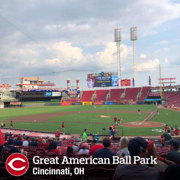 Great American Ball Park, secção: 120, fila: EE, lugar: 8