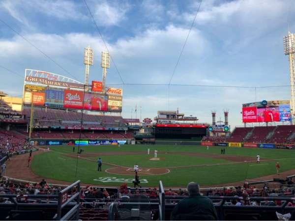 Great American Ball Park, secção: 124, fila: A, lugar: 7