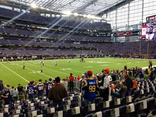 U.S. Bank Stadium, secção: 113, fila: 10, lugar: 8
