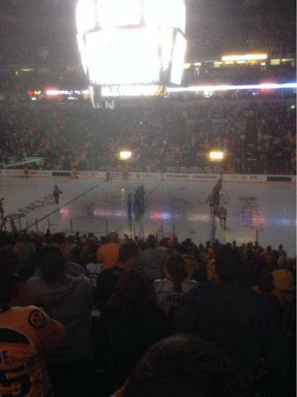 Bridgestone Arena, secção: 106, fila: P, lugar: 1