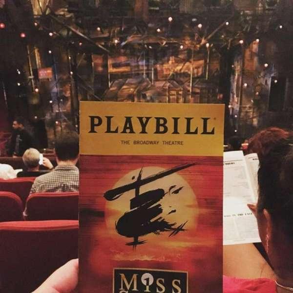 Broadway Theatre - 53rd Street, secção: Rear Mezzanine C, fila: F, lugar: 105