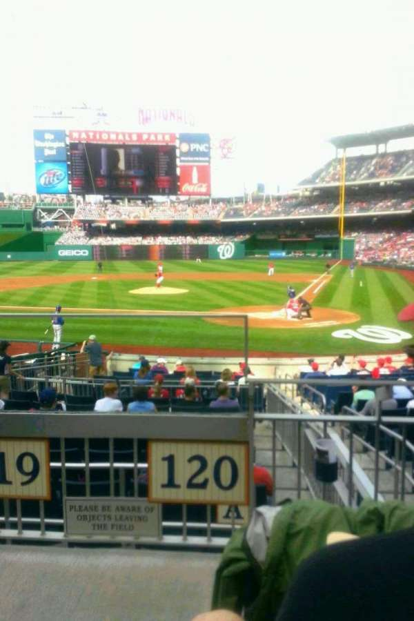 Nationals Park, secção: 120, fila: C, lugar: 9
