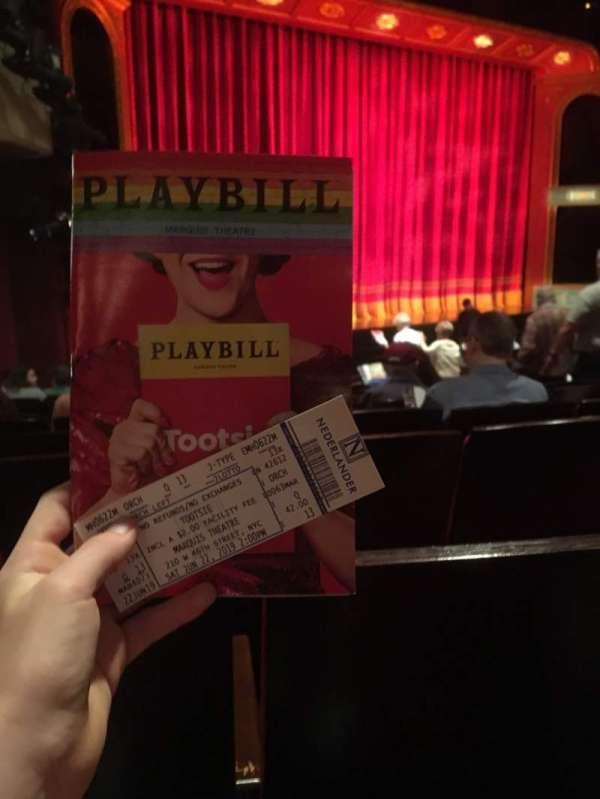 Marquis Theatre, secção: Orchestra L, fila: Q, lugar: 13