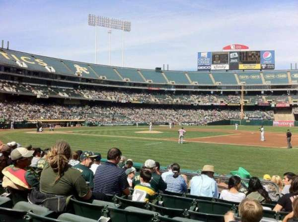 Oakland Coliseum, secção: 110, fila: 8, lugar: 7