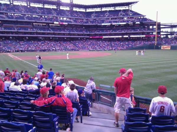 Citizens Bank Park, secção: 108, fila: 17, lugar: 18