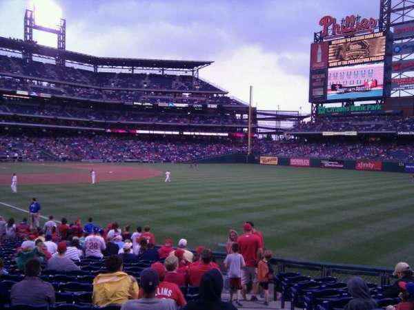 Citizens Bank Park, secção: 109, fila: 22, lugar: 1