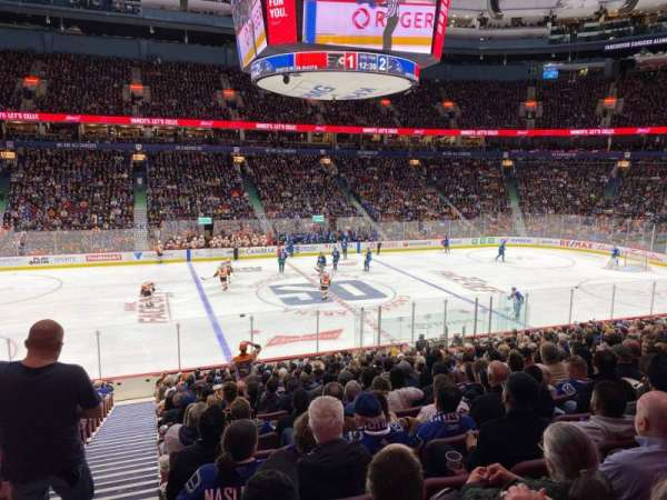 Rogers Arena, secção: 107, fila: 20, lugar: 1