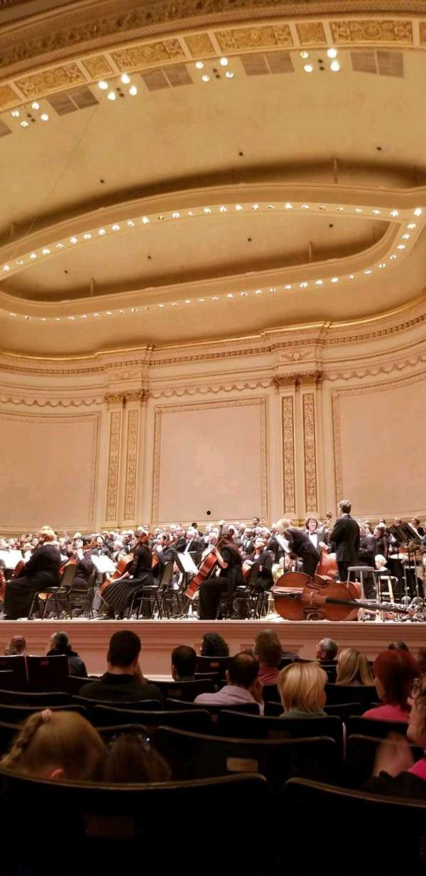Carnegie Hall, secção: Parquet Right, fila: K, lugar: 10